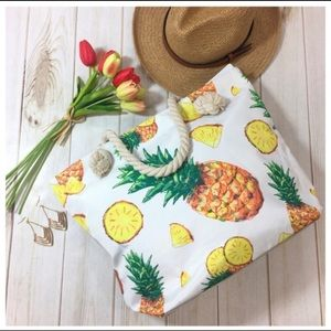 🍍CUTE PINEAPPLE CANVAS TOTE BAG WITH ROPE HANDLES